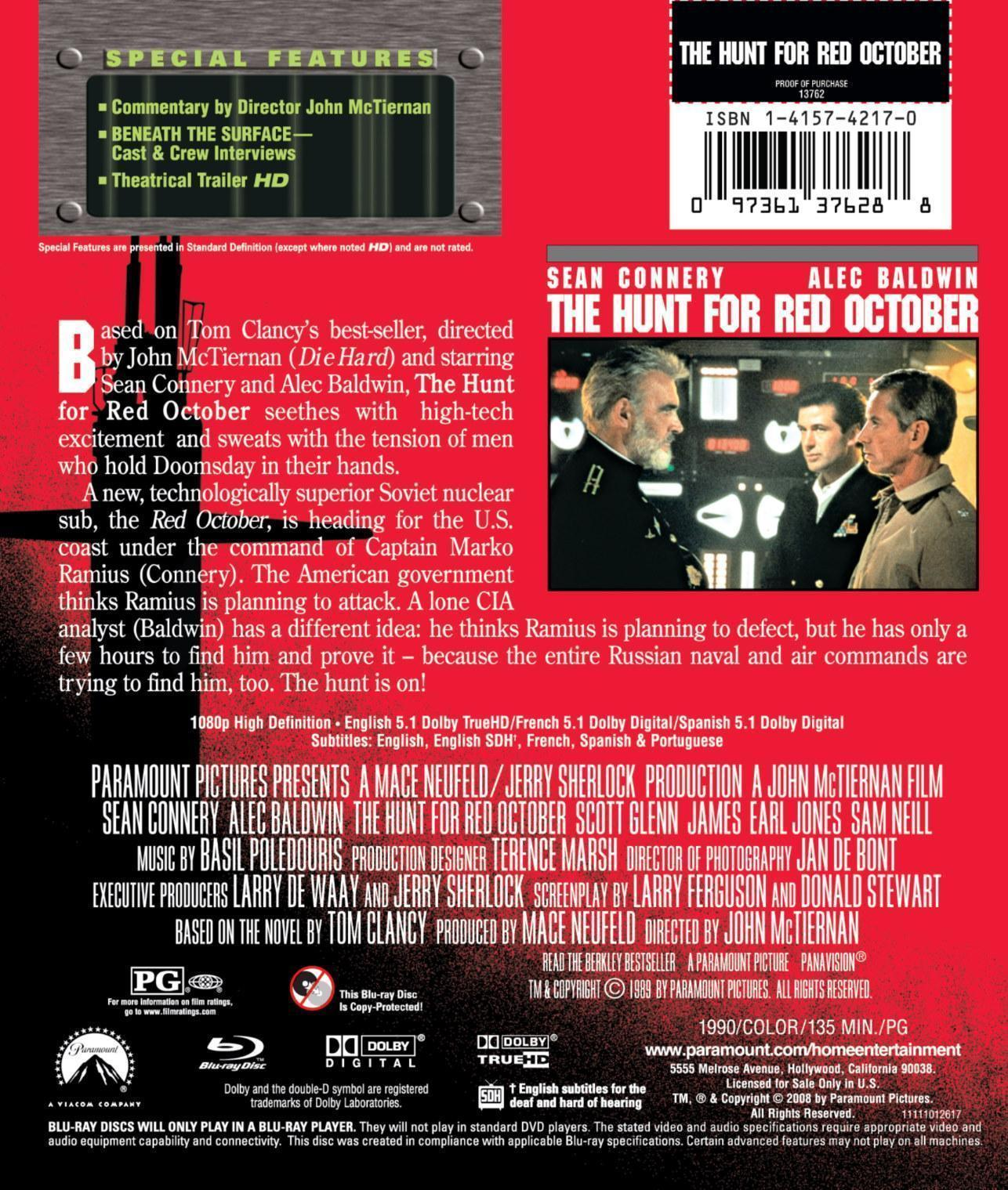 hunt for red october blu ray review